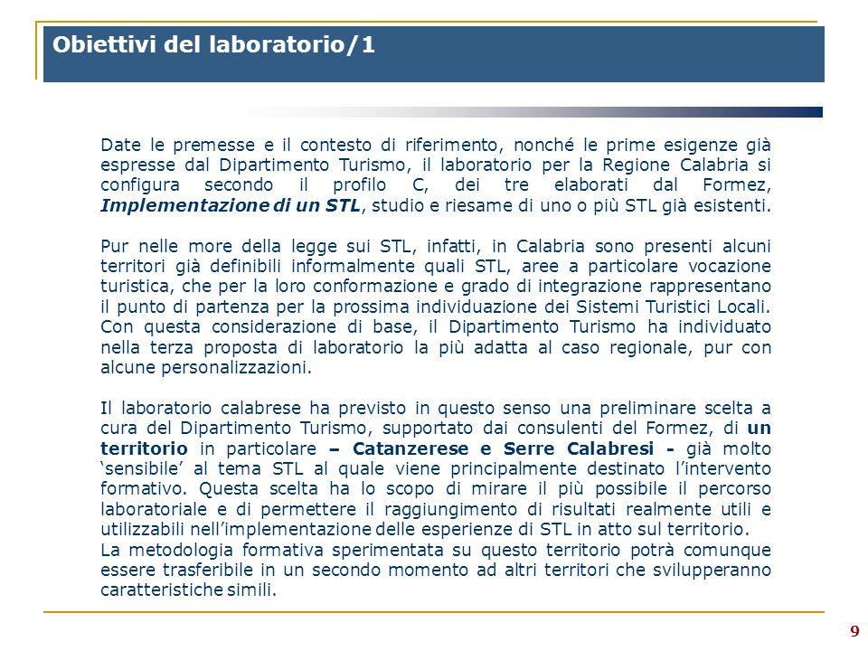 9 Obiettivi del laboratorio/1 Date le premesse e il contesto di riferimento, nonché le prime esigenze già espresse dal Dipartimento Turismo, il laboratorio per la Regione Calabria si configura secondo il profilo C, dei tre elaborati dal Formez, Implementazione di un STL, studio e riesame di uno o più STL già esistenti.