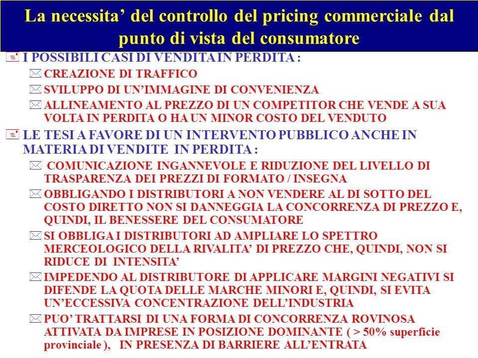 La necessita' del controllo del pricing commerciale dal punto di vista del consumatore +LE TESI CONTRO L' INTERVENTO PUBBLICO ANCHE IN MATERIA DI VENDITE IN PERDITA : *E' POSSIBILE CHE IL CONTROLLO RIDUCA LA VARIANZA DEL PREZZO DI UNA DATA MARCA PER AREA TERRITORIALE, FORMATO DI PUNTO VENDITA E INSEGNA, DANNEGGIANDO COSI' IL CONSUMATORE *IL PREZZO DI ACQUISTO ESPRESSO IN FATTURA POTREBBE ESSERE UNA BUONA PROXY DEL COSTO DIRETTO SOLO SE IL FUORI FATTURA DELLE DIVERSE TIPOLOGIE DI MARCA FOSSE UNIFORME ( v/normativa) *L'EFFETTO AL RIALZO DEL CONTROLLO RISULTA COSI' MOLTO ALTO PER LE MARCHE NAZIONALI E INCONSISTENTE PER LE ALTRE MARCHE E LA MARCA COMMERCIALE *IL FUORIFATTURA DI UNA DATA MARCA VARIA MOLTISSIMO TRA LE DIVERSE INSEGNE, CIO' CHE IMPATTA SUL PREZZO DI FATTURA : IL FUORI FATTURA E' IN PARTE FINANZIATO AUMENTANDO IL PREZZO IN FATTURA ( TAB.