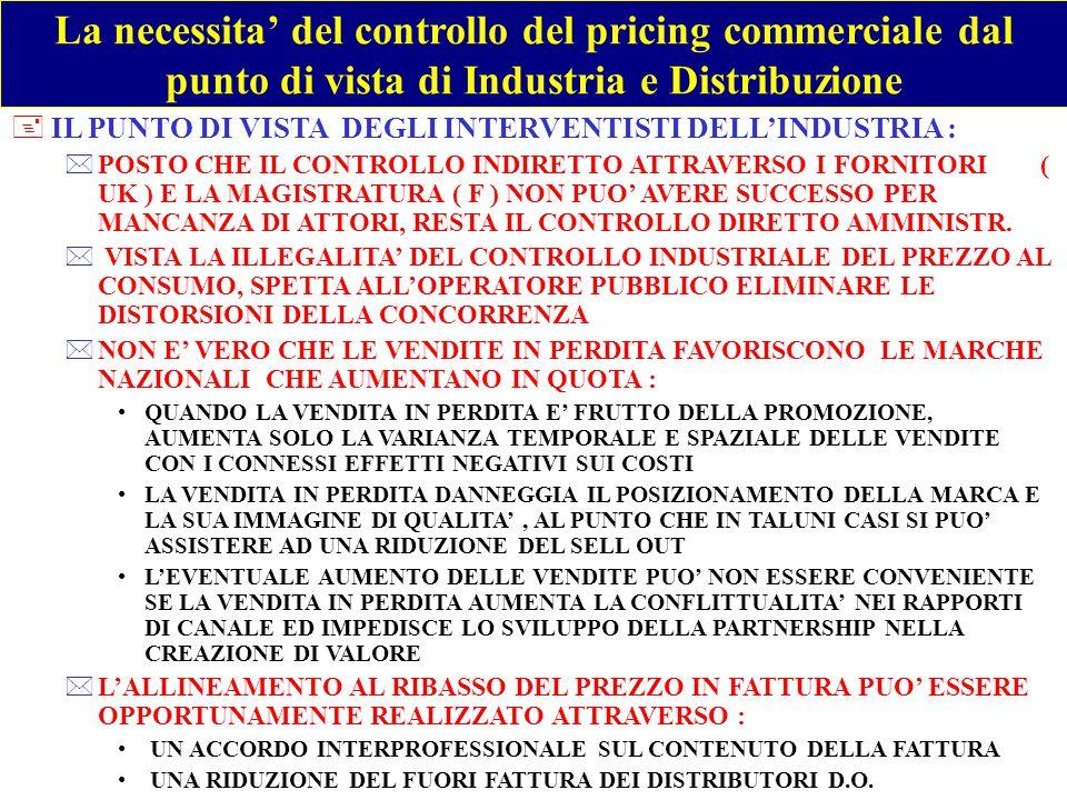 La necessita' del controllo del pricing commerciale dal punto di vista di Industria e Distribuzione +IL PUNTO DI VISTA DEI LIBERISTI DELL' INDUSTRIA *L'INTERVENTO PUBBLICO NON E' MAI RIUSCITO A CORREGGERE I FALLIMENTI DEL MERCATO, MA HA SEMPRE CREATO ULTERIORI DISTORSIONI *LIBERTA' D'IMPRESA E LIBERTA' DEL PRICING *IL CONTROLLO AL RIBASSO PUO' ESSERE UN VARCO PER INTRODURRE POI IL CONTROLLO AL RIALZO *L'INTERVENTO SULLE VENDITE SOTTOCOSTO E' OGGI CHIESTO DAI FORNITORI CHE HANNO CONTRIBUITO AL SUO SVILUPPO : DIFFERENZIANDO IL LISTINO PER AREA TERRITORIALE DISCRIMINANDO LE CONDIZIONI DI VENDITA AL TRADE ORIENTANDO AL SELL IN LE POLITICHE DI VENDITA *L'ALLINEMENTO AL RIBASSO DEL PREZZO IN FATTURA, FINANZIATO RIDUCENDO IL FUORI FATTURA DELLA D.O., LASCIA IMMUTATI I RAPPORTI DI CANALE SOLO NEL BREVE : LA QUOTA DELLE MARCHE NAZIONALI NELLA D.O.