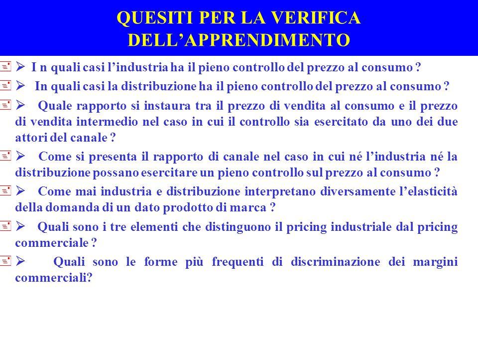 Regole empiriche di formazione e variazione dei prezzi al consumo +I LIVELLI DEL PRICING COMMERCIALE (F 6.2/1)(F 6.2/1) +IL RUOLO DEI COSTI, DELLA DOMANDA E DELLA CONCORRENZA AI DIVERSI LIVELLI DEL PRICING COMMERCIALE +DEFINIZIONE DEL MARGINE PERCENTUALE E DEL MARGINE COMPLESSIVO NEL BUDGET : *PREVISIONE DELLA STRUTTURA DELLE VENDITE *VENTILAZIONE DEL MARGINE OBIETTIVO DI FORMATO/PUNTO VENDITA/MERCATO IN BASE ALLA ELASTICITA' DELLA DOMANDA ( inverso del tasso di rotazione ) *CONTROLLO BUDGETARIO PER AGGIUSTARE MARGINI PERCENTUALI - OBIETTIVI DI ROI +Le difficolta' di previsione della domanda vengono superare utilizzando dati storici e rivedendo frequentemente le decisioni assunte attraverso il controllo budgetario +L'ampia dispersione dei margini percentuali sulle vendite tra categorie e all'interno di una stessa categoria conferma il ruolo dominante della domanda nel pricing commerciale