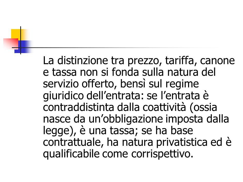 La distinzione tra prezzo, tariffa, canone e tassa non si fonda sulla natura del servizio offerto, bensì sul regime giuridico dell'entrata: se l'entra