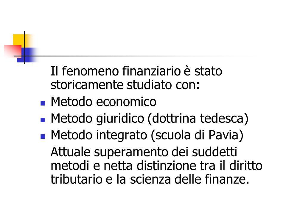 Il fenomeno finanziario è stato storicamente studiato con: Metodo economico Metodo giuridico (dottrina tedesca) Metodo integrato (scuola di Pavia) Att