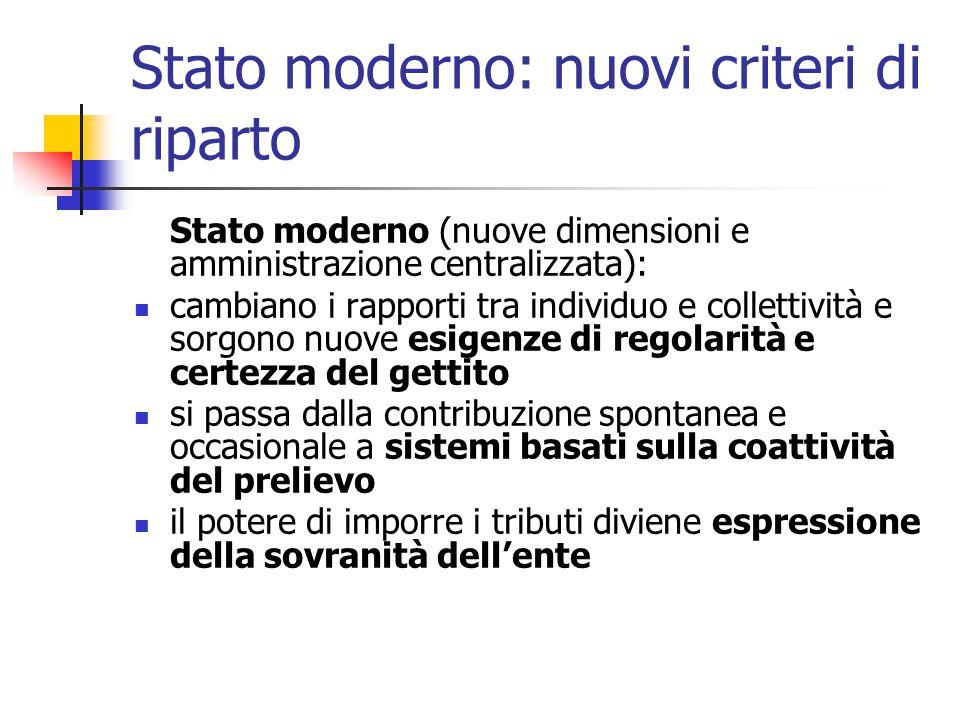 Stato moderno: nuovi criteri di riparto Stato moderno (nuove dimensioni e amministrazione centralizzata): cambiano i rapporti tra individuo e colletti