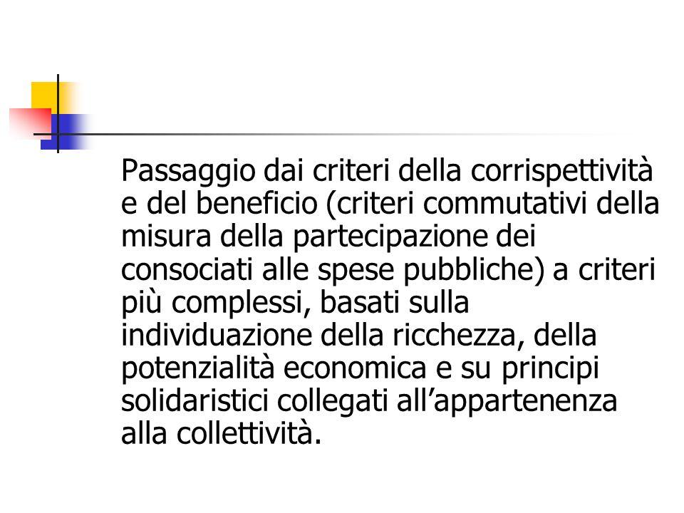 Passaggio dai criteri della corrispettività e del beneficio (criteri commutativi della misura della partecipazione dei consociati alle spese pubbliche