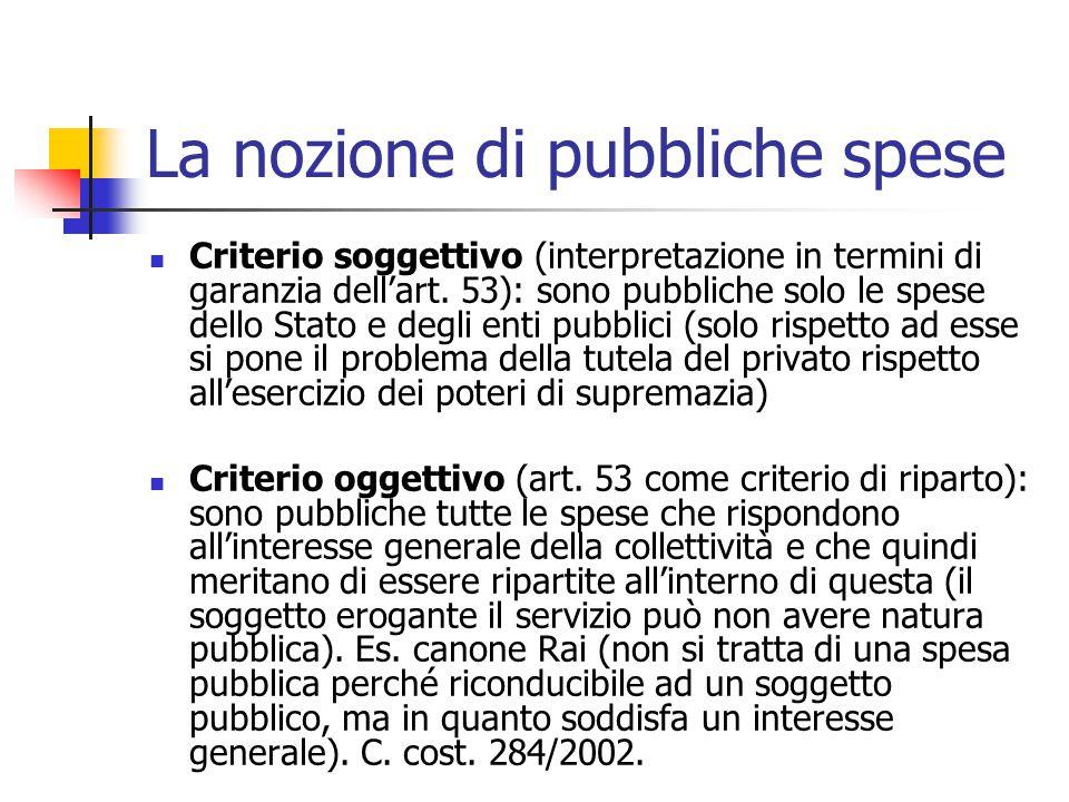 La nozione di pubbliche spese Criterio soggettivo (interpretazione in termini di garanzia dell'art. 53): sono pubbliche solo le spese dello Stato e de