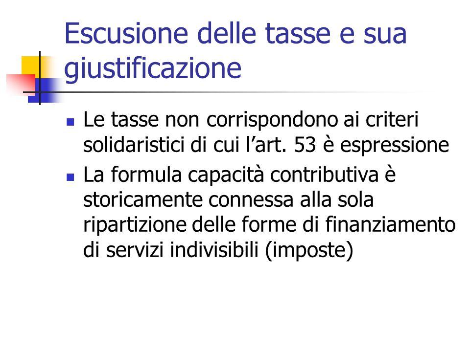 Escusione delle tasse e sua giustificazione Le tasse non corrispondono ai criteri solidaristici di cui l'art. 53 è espressione La formula capacità con