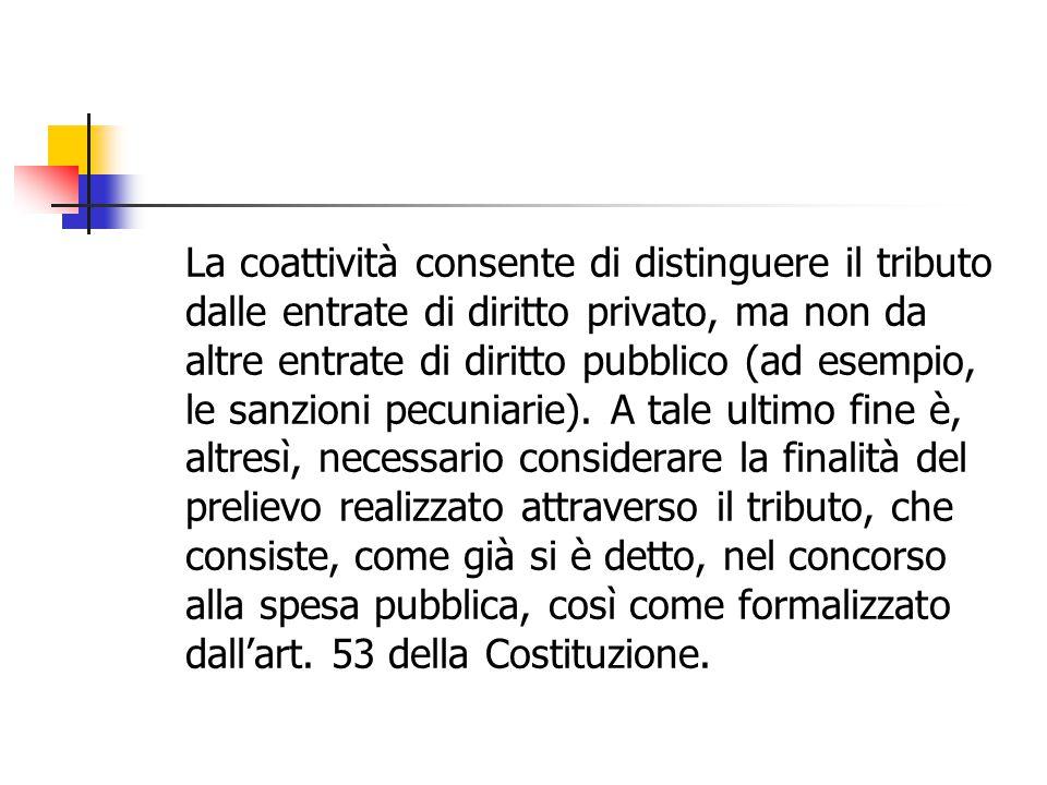 Principio di capacità contributiva: ambito di applicazione Corte costituzionale: Esclusione dall'art.