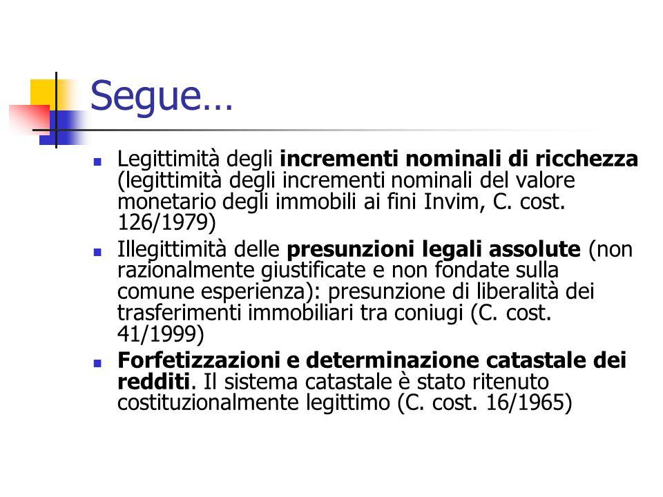 Segue… Legittimità degli incrementi nominali di ricchezza (legittimità degli incrementi nominali del valore monetario degli immobili ai fini Invim, C.