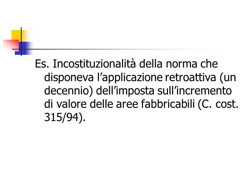 Es. Incostituzionalità della norma che disponeva l'applicazione retroattiva (un decennio) dell'imposta sull'incremento di valore delle aree fabbricabi