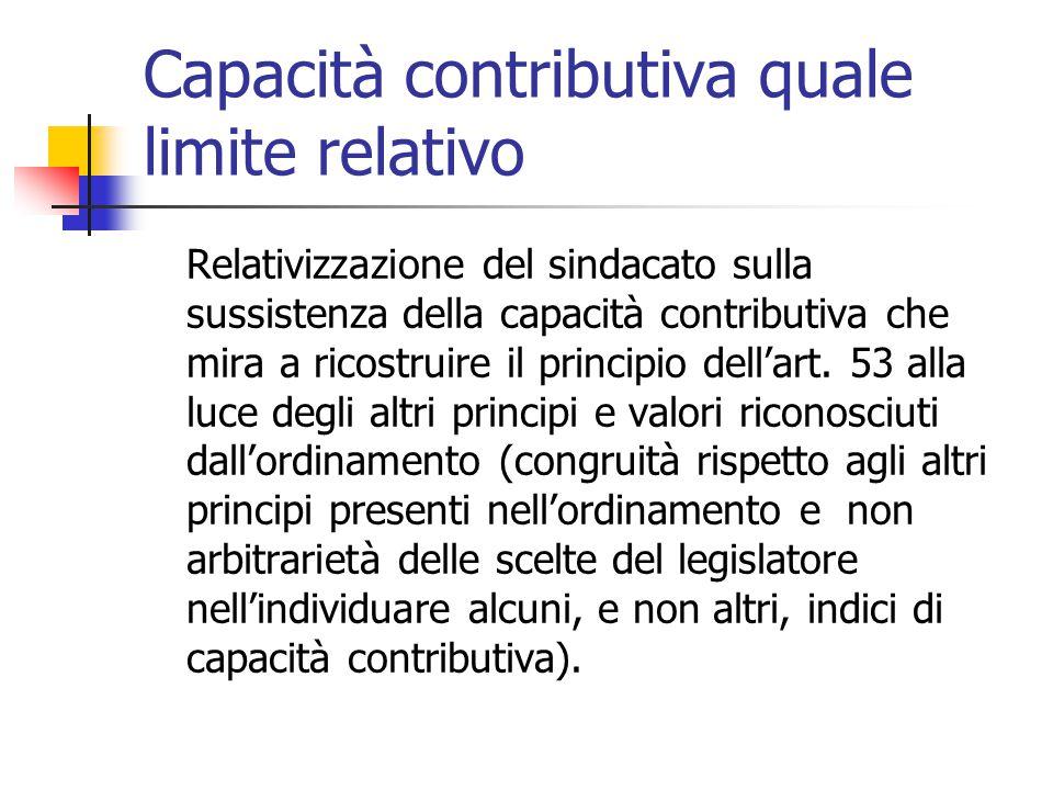 Capacità contributiva quale limite relativo Relativizzazione del sindacato sulla sussistenza della capacità contributiva che mira a ricostruire il pri