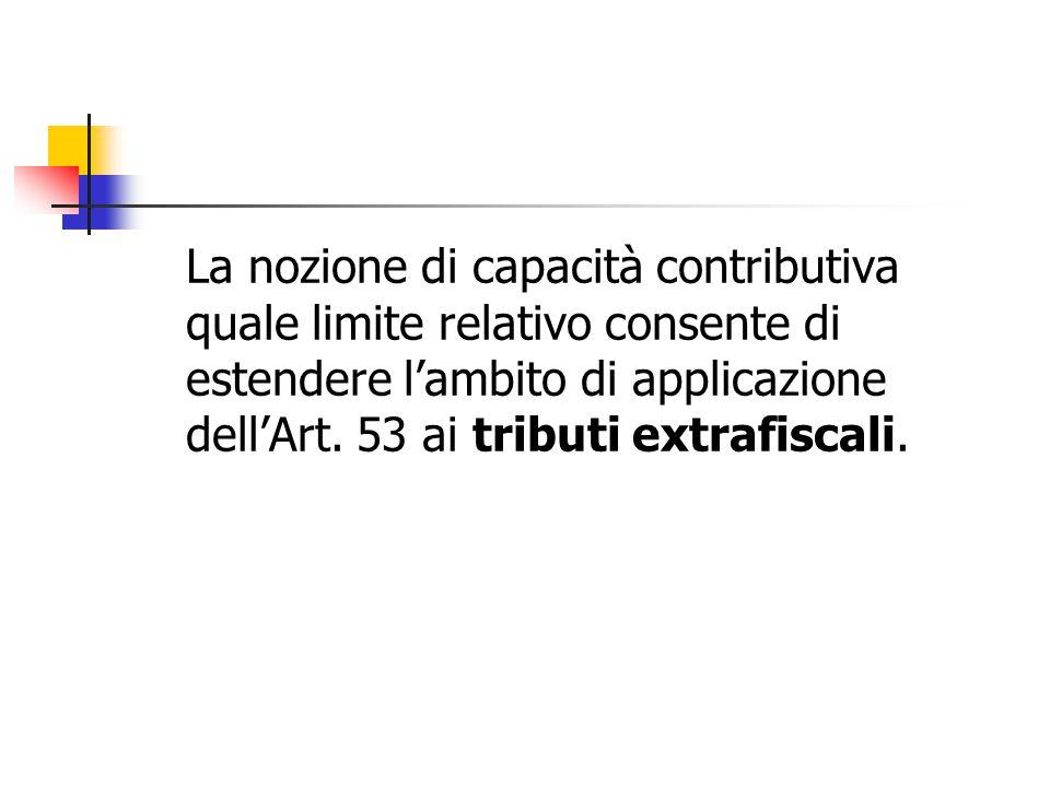 La nozione di capacità contributiva quale limite relativo consente di estendere l'ambito di applicazione dell'Art. 53 ai tributi extrafiscali.