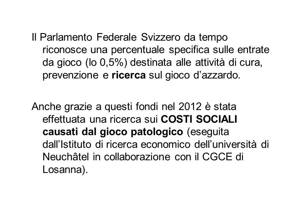 Il Parlamento Federale Svizzero da tempo riconosce una percentuale specifica sulle entrate da gioco (lo 0,5%) destinata alle attività di cura, prevenz