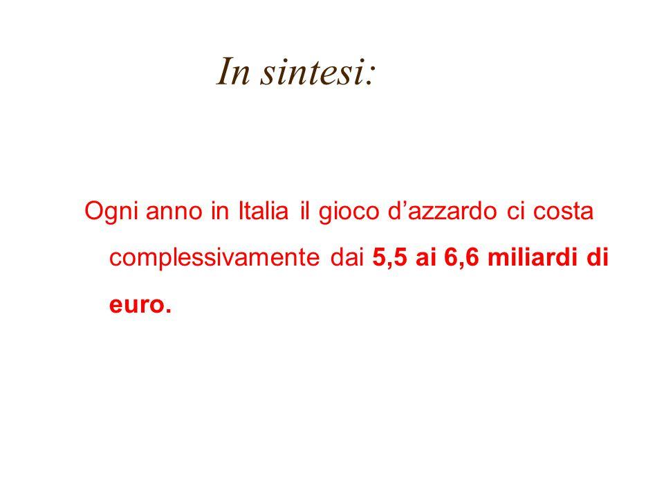 In sintesi: Ogni anno in Italia il gioco d'azzardo ci costa complessivamente dai 5,5 ai 6,6 miliardi di euro.