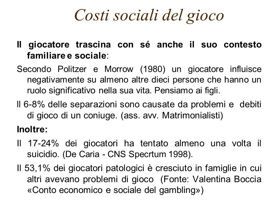Il giocatore trascina con sé anche il suo contesto familiare e sociale: Secondo Politzer e Morrow (1980) un giocatore influisce negativamente su almen