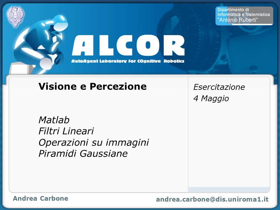 Andrea Carbone andrea.carbone@dis.uniroma1.it Visione e Percezione Matlab Filtri Lineari Operazioni su immagini Piramidi Gaussiane Esercitazione 4 Mag