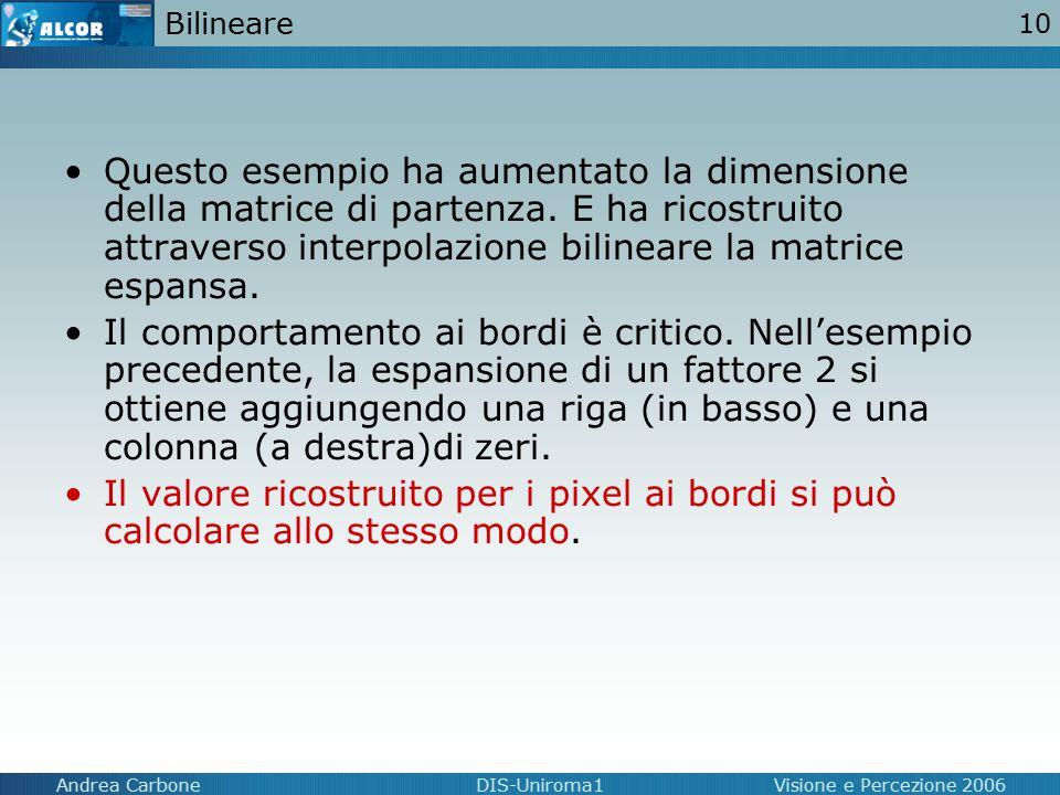 10 Andrea CarboneDIS-Uniroma1Visione e Percezione 2006 Bilineare Questo esempio ha aumentato la dimensione della matrice di partenza. E ha ricostruito