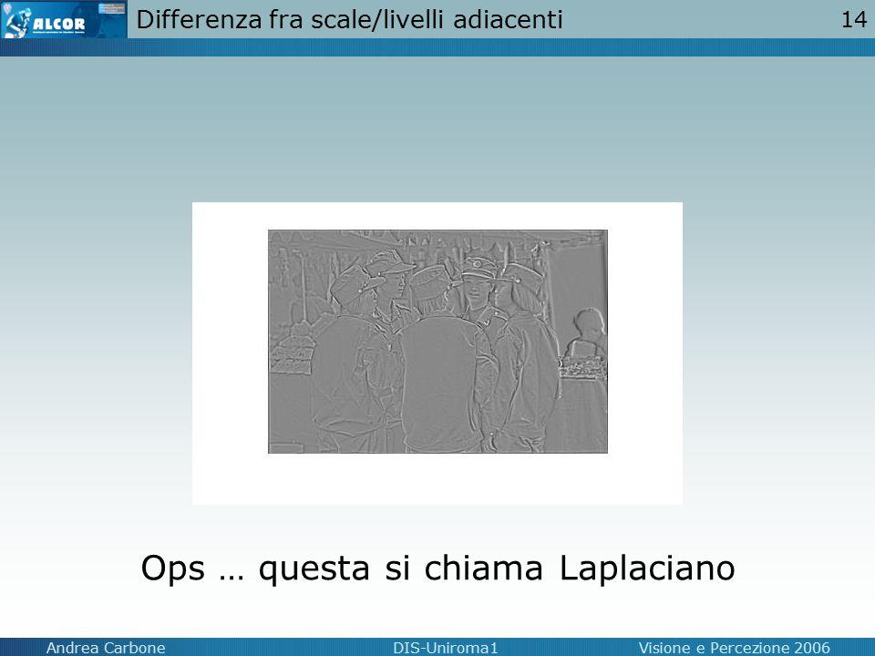 14 Andrea CarboneDIS-Uniroma1Visione e Percezione 2006 Differenza fra scale/livelli adiacenti Ops … questa si chiama Laplaciano