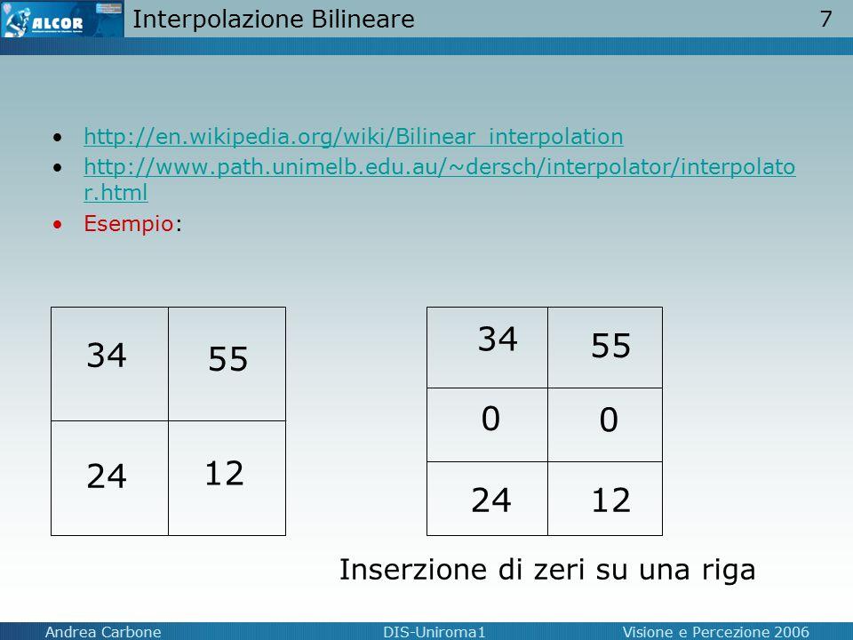 7 Andrea CarboneDIS-Uniroma1Visione e Percezione 2006 Interpolazione Bilineare http://en.wikipedia.org/wiki/Bilinear_interpolation http://www.path.uni