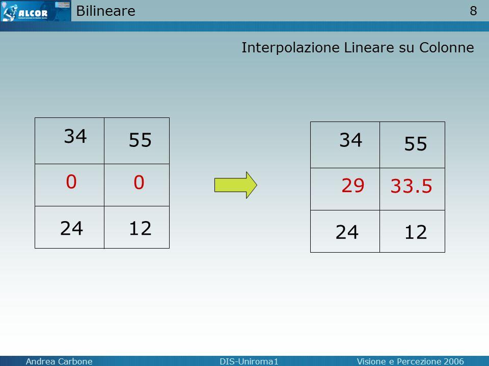 8 Andrea CarboneDIS-Uniroma1Visione e Percezione 2006 Bilineare 34 55 2412 0 0 34 55 2412 29 33.5 Interpolazione Lineare su Colonne