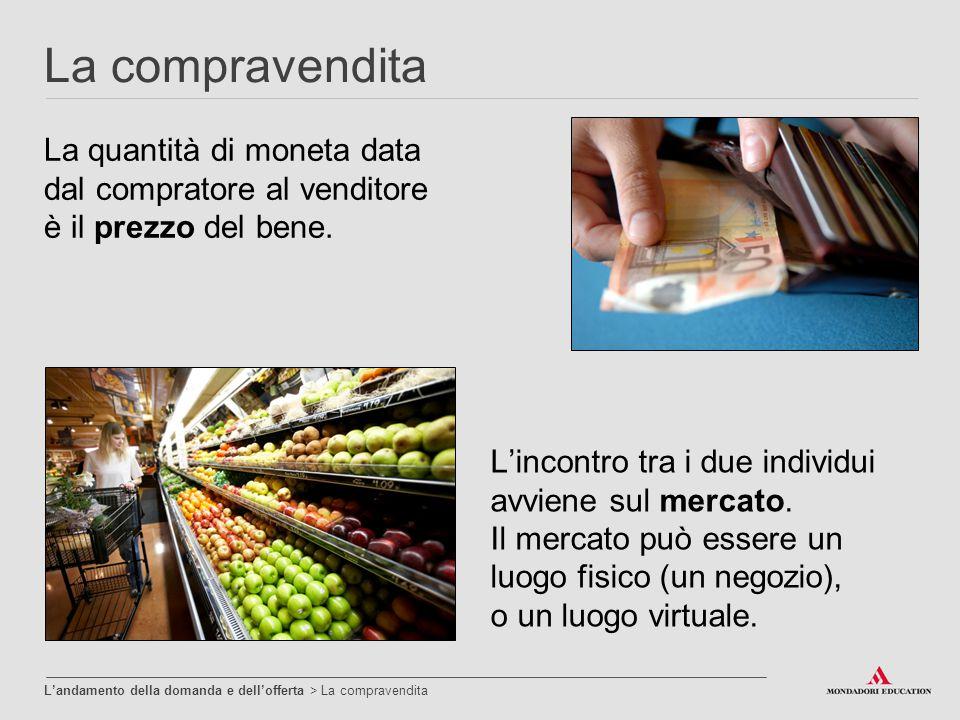 La compravendita La quantità di moneta data dal compratore al venditore è il prezzo del bene. L'incontro tra i due individui avviene sul mercato. Il m