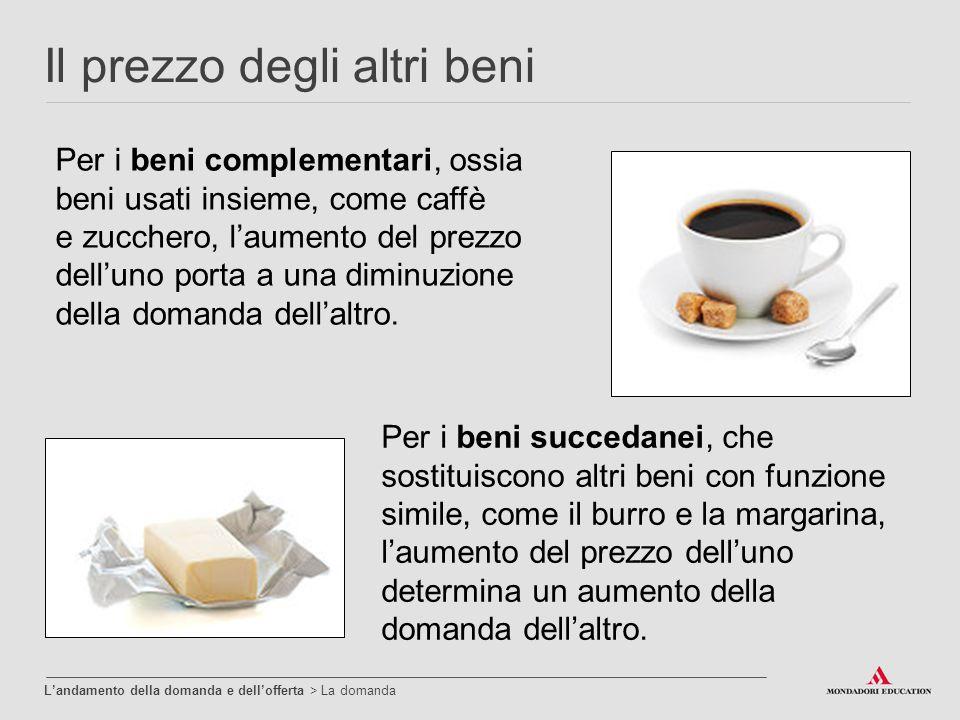 Il prezzo degli altri beni Per i beni complementari, ossia beni usati insieme, come caffè e zucchero, l'aumento del prezzo dell'uno porta a una diminu