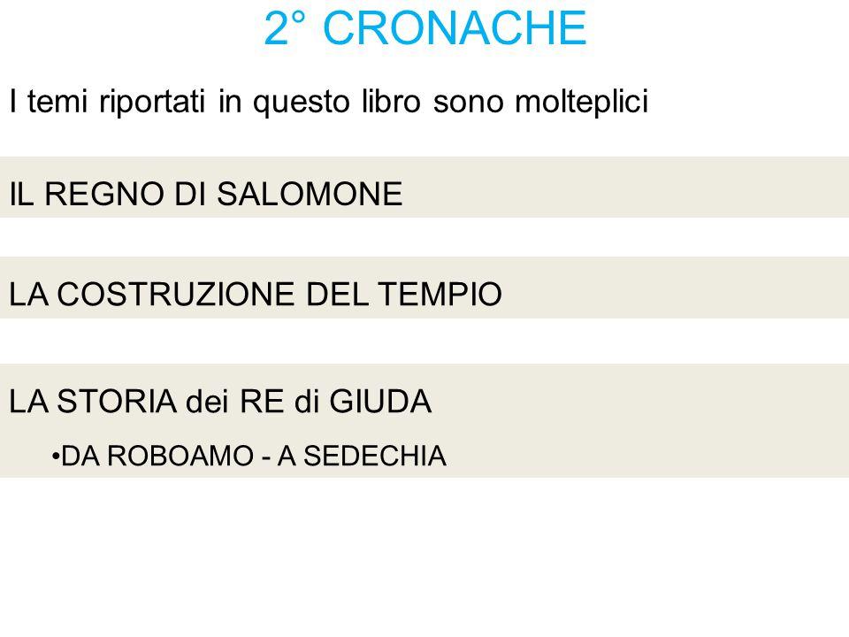 2° CRONACHE IL REGNO DI SALOMONE La RICERCA 2 Cronache 1:1-6 La SCELTA 2 Cronache 1:7-12