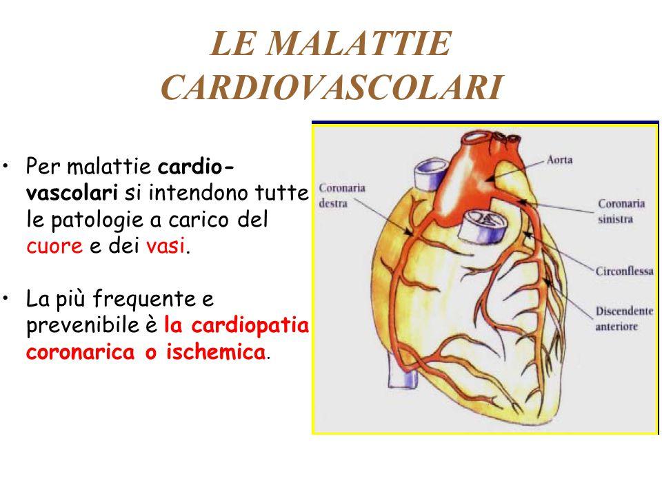 LE MALATTIE CARDIOVASCOLARI Per malattie cardio- vascolari si intendono tutte le patologie a carico del cuore e dei vasi. La più frequente e prevenibi