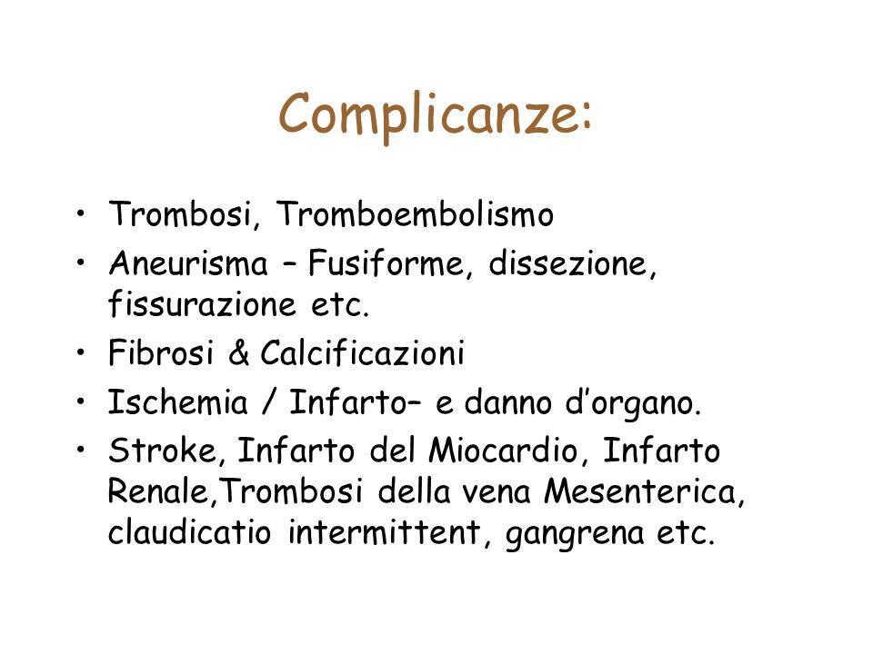 Complicanze: Trombosi, Tromboembolismo Aneurisma – Fusiforme, dissezione, fissurazione etc. Fibrosi & Calcificazioni Ischemia / Infarto– e danno d'org