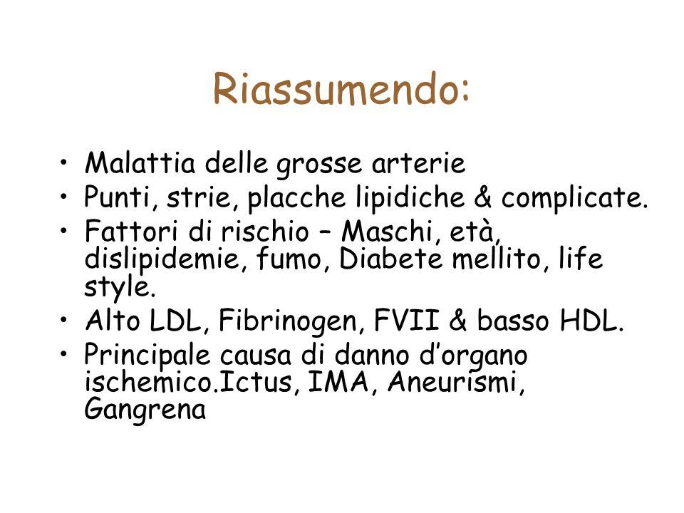 Riassumendo: Malattia delle grosse arterie Punti, strie, placche lipidiche & complicate. Fattori di rischio – Maschi, età, dislipidemie, fumo, Diabete