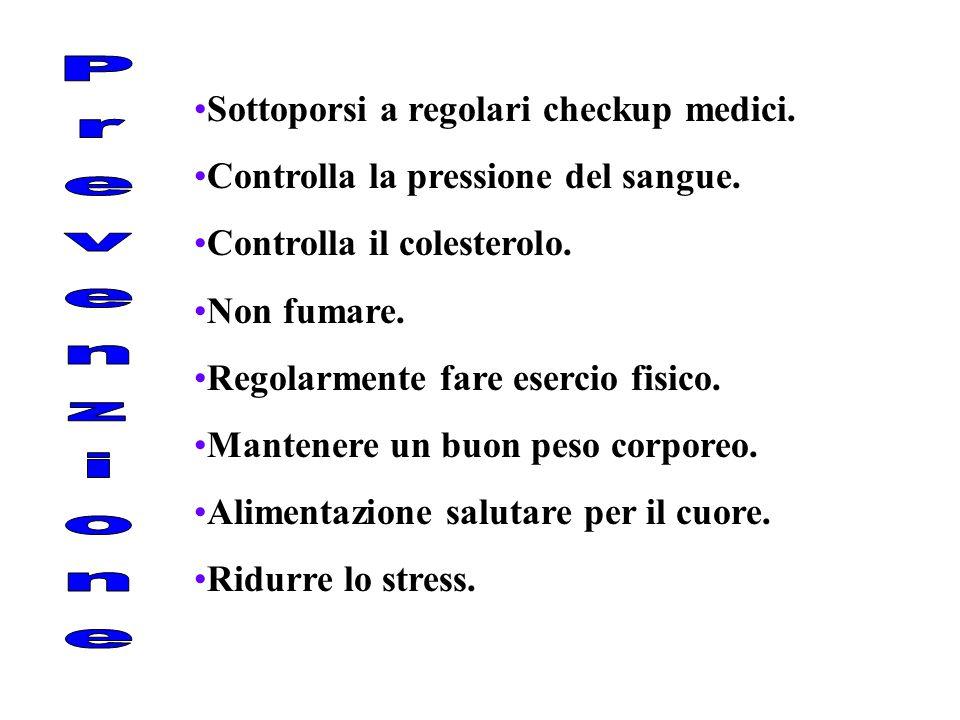 Sottoporsi a regolari checkup medici. Controlla la pressione del sangue. Controlla il colesterolo. Non fumare. Regolarmente fare esercio fisico. Mante