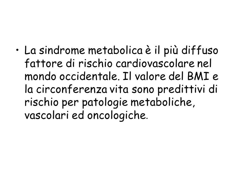 La sindrome metabolica è il più diffuso fattore di rischio cardiovascolare nel mondo occidentale. Il valore del BMI e la circonferenza vita sono predi