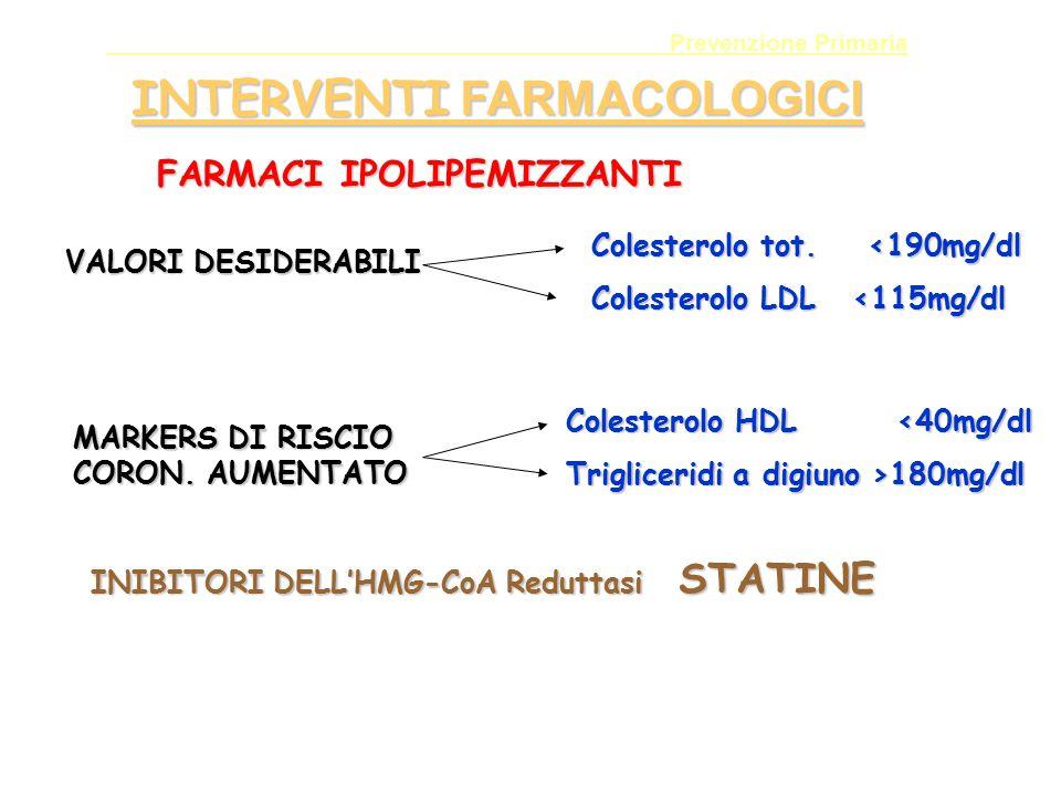 Prevenzione Primaria INTERVENTI FARMACOLOGICI FARMACI IPOLIPEMIZZANTI VALORI DESIDERABILI Colesterolo tot. <190mg/dl Colesterolo LDL <115mg/dl MARKERS
