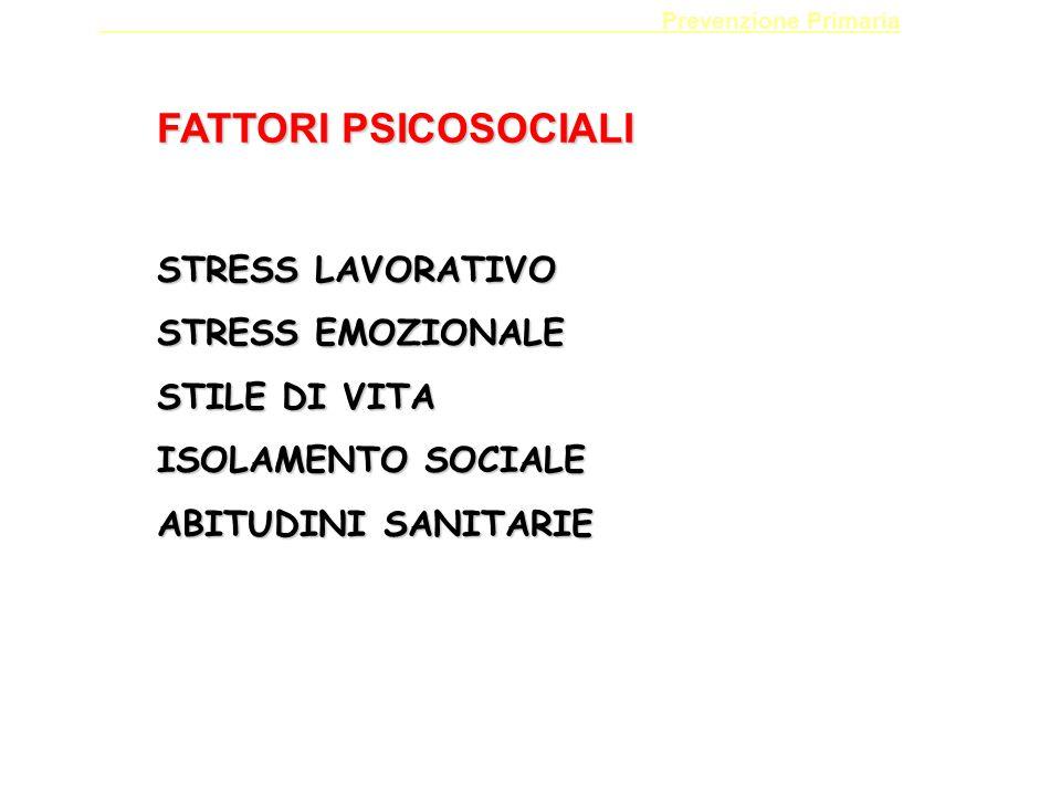 Prevenzione Primaria FATTORI PSICOSOCIALI STRESS LAVORATIVO STRESS EMOZIONALE STILE DI VITA ISOLAMENTO SOCIALE ABITUDINI SANITARIE