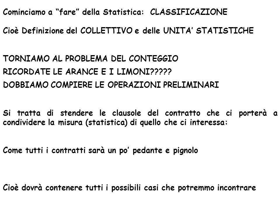 Cominciamo a fare della Statistica: CLASSIFICAZIONE Cioè Definizione del COLLETTIVO e delle UNITA' STATISTICHE TORNIAMO AL PROBLEMA DEL CONTEGGIO RICORDATE LE ARANCE E I LIMONI .