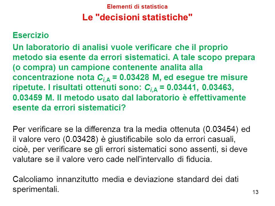 Elementi di statistica 13 Esercizio Un laboratorio di analisi vuole verificare che il proprio metodo sia esente da errori sistematici. A tale scopo pr