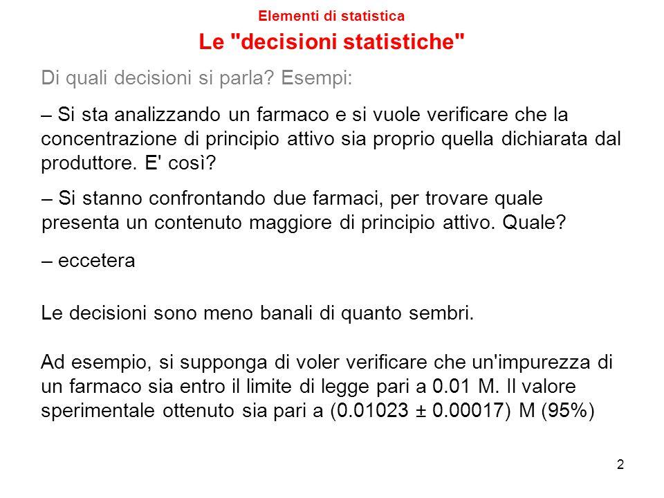 Elementi di statistica 2 Di quali decisioni si parla? Esempi: – Si stanno confrontando due farmaci, per trovare quale presenta un contenuto maggiore d