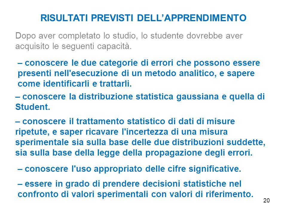 20 RISULTATI PREVISTI DELL'APPRENDIMENTO Dopo aver completato lo studio, lo studente dovrebbe aver acquisito le seguenti capacità. – conoscere la dist
