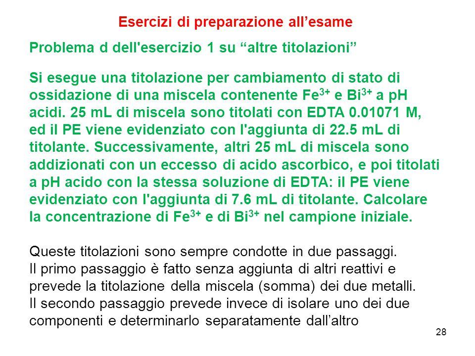 """28 Problema d dell'esercizio 1 su """"altre titolazioni"""" Si esegue una titolazione per cambiamento di stato di ossidazione di una miscela contenente Fe 3"""