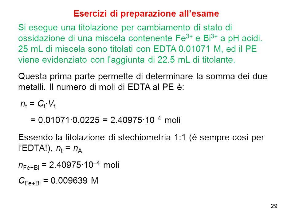 29 Si esegue una titolazione per cambiamento di stato di ossidazione di una miscela contenente Fe 3+ e Bi 3+ a pH acidi. 25 mL di miscela sono titolat