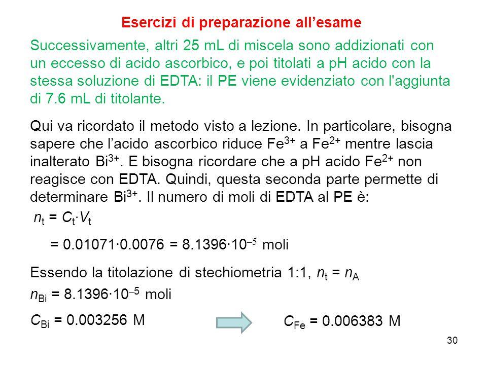 30 Successivamente, altri 25 mL di miscela sono addizionati con un eccesso di acido ascorbico, e poi titolati a pH acido con la stessa soluzione di ED