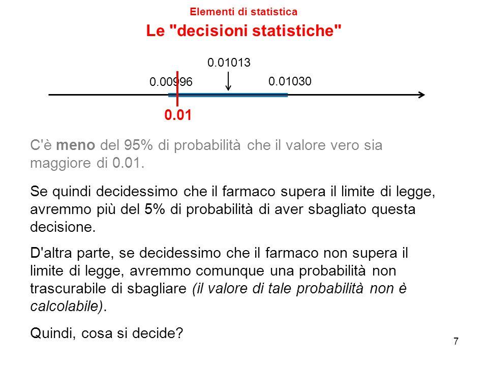 Elementi di statistica 8 0.01013 0.01030 0.00996 0.01 In pratica, potremmo prendere una tra le due seguenti decisioni sbagliate: - Rispondere è fuorilegge quando invece è entro il limite di legge.