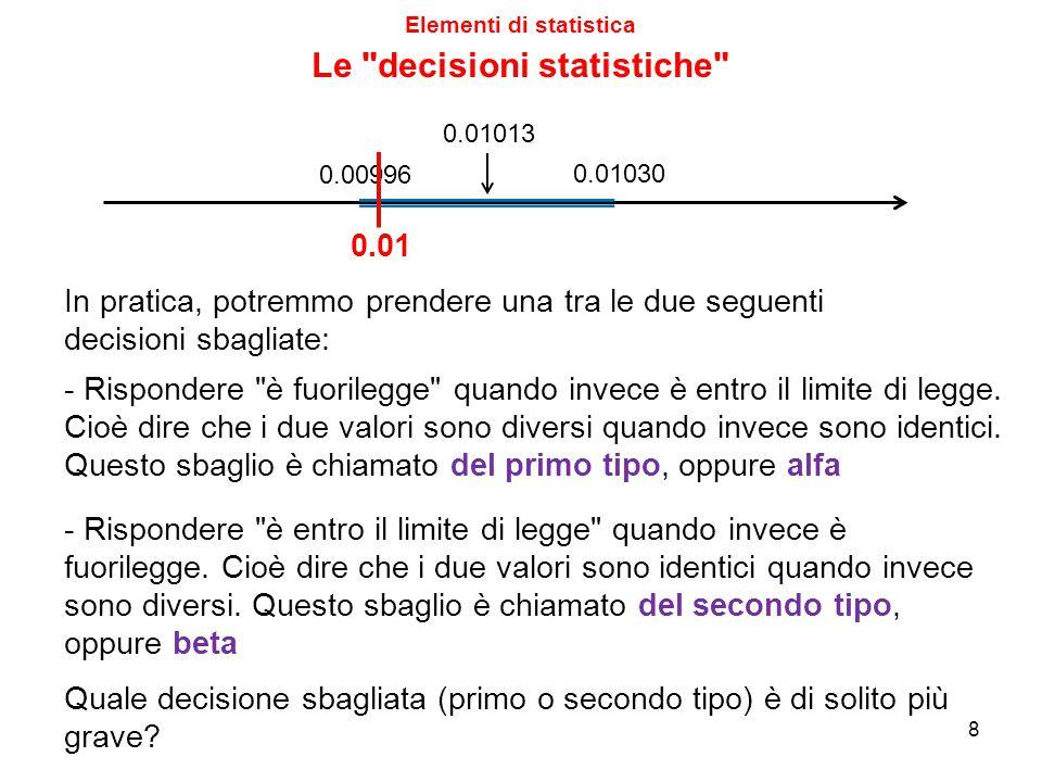 Elementi di statistica 8 0.01013 0.01030 0.00996 0.01 In pratica, potremmo prendere una tra le due seguenti decisioni sbagliate: - Rispondere
