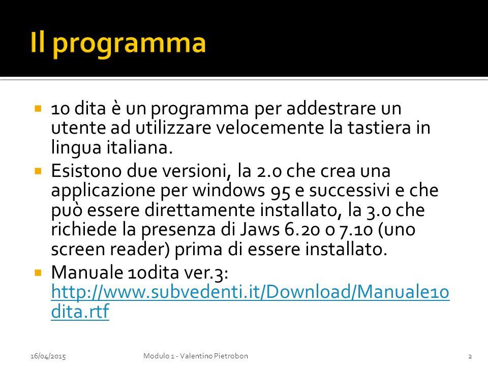  10 dita è un programma per addestrare un utente ad utilizzare velocemente la tastiera in lingua italiana.