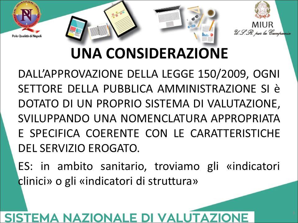 UNA CONSIDERAZIONE DALL'APPROVAZIONE DELLA LEGGE 150/2009, OGNI SETTORE DELLA PUBBLICA AMMINISTRAZIONE SI è DOTATO DI UN PROPRIO SISTEMA DI VALUTAZIONE, SVILUPPANDO UNA NOMENCLATURA APPROPRIATA E SPECIFICA COERENTE CON LE CARATTERISTICHE DEL SERVIZIO EROGATO.