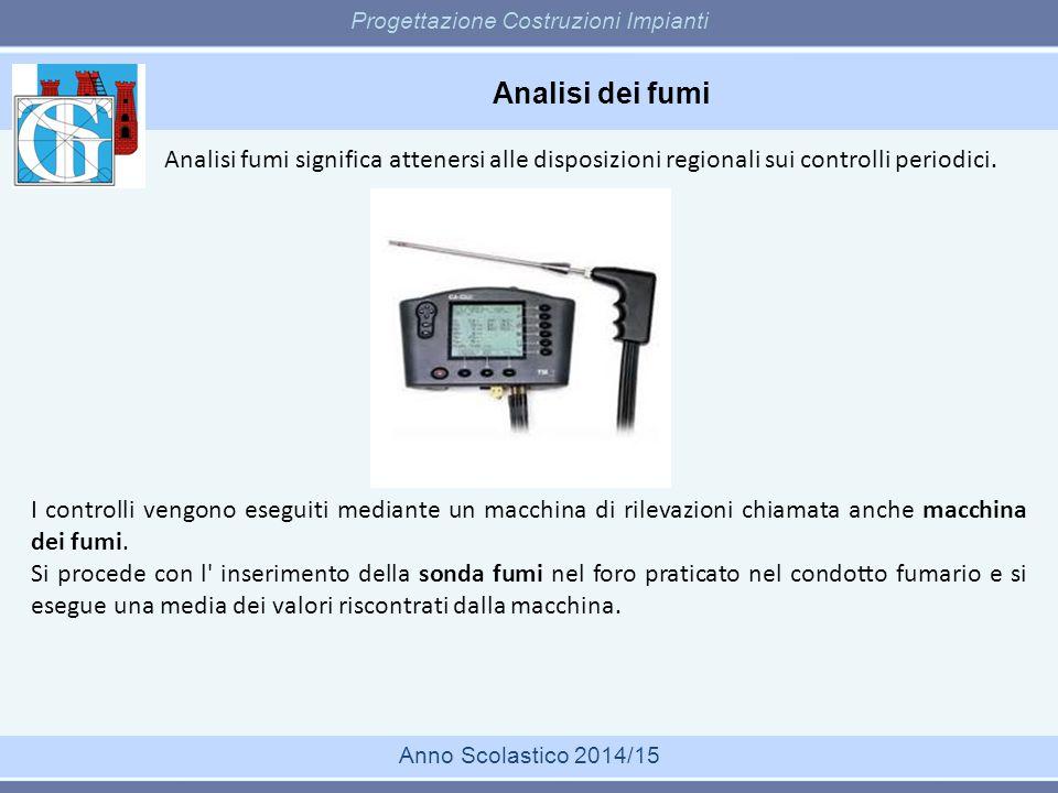 Analisi dei fumi Progettazione Costruzioni Impianti Anno Scolastico 2014/15 I controlli vengono eseguiti mediante un macchina di rilevazioni chiamata