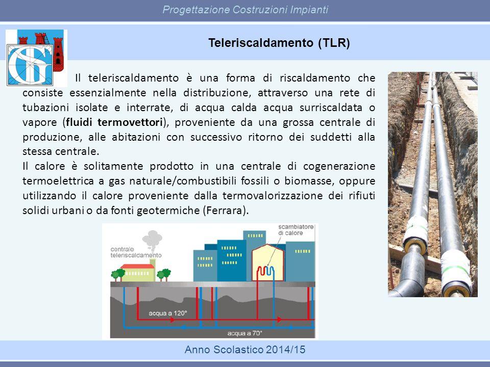 Teleriscaldamento (TLR) Progettazione Costruzioni Impianti Anno Scolastico 2014/15 Il teleriscaldamento è una forma di riscaldamento che consiste esse