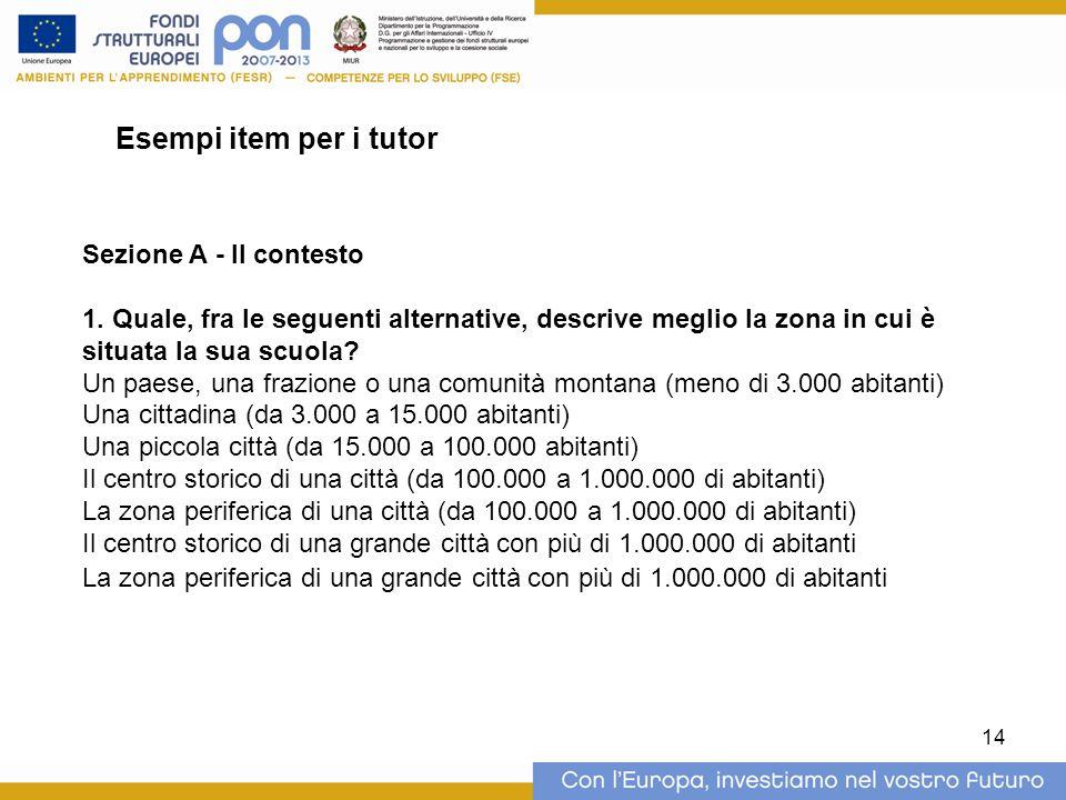 14 Esempi item per i tutor Sezione A - Il contesto 1.
