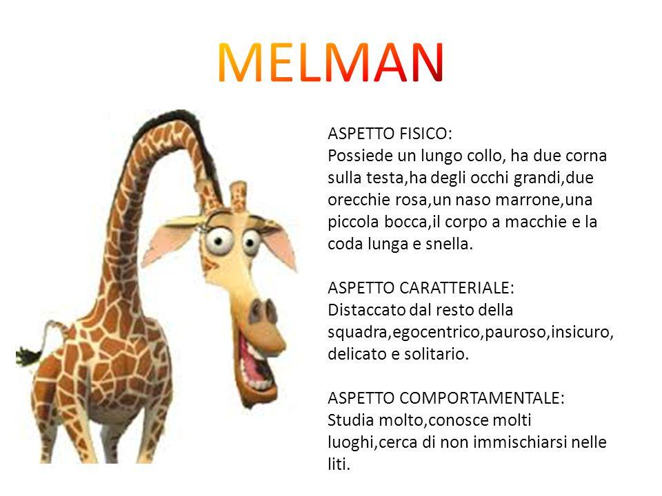 ASPETTO FISICO: Possiede un lungo collo, ha due corna sulla testa,ha degli occhi grandi,due orecchie rosa,un naso marrone,una piccola bocca,il corpo a macchie e la coda lunga e snella.