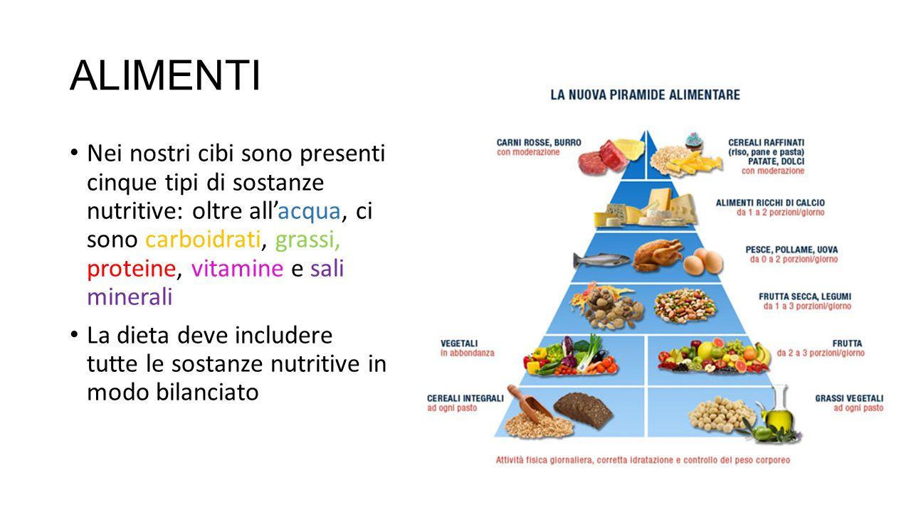 ALIMENTI Nei nostri cibi sono presenti cinque tipi di sostanze nutritive: oltre all'acqua, ci sono carboidrati, grassi, proteine, vitamine e sali mine