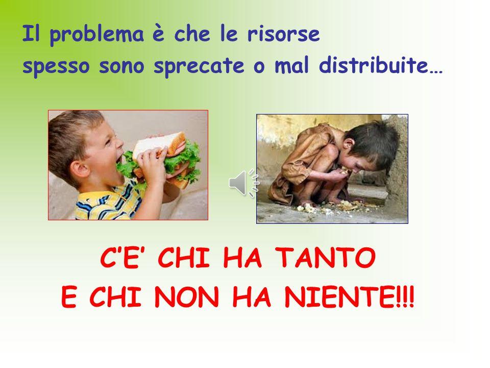 Il problema è che le risorse spesso sono sprecate o mal distribuite… C'E' CHI HA TANTO E CHI NON HA NIENTE!!!